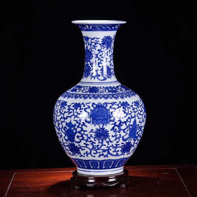 景德镇陶瓷器摆件v摆件客厅青花瓷仿古中式家居花瓶博古架小装饰品