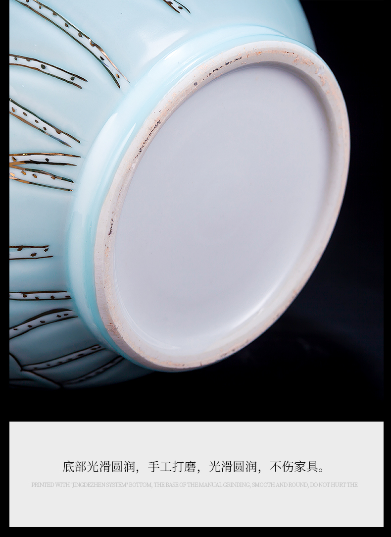 Jingdezhen ceramic vase penjing masters hand shadow blue paint f tube Chinese flower arranging retro rich ancient frame sitting room