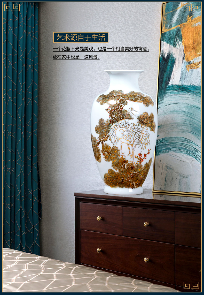 Jingdezhen ceramic vase light key-2 luxury furnishing articles famous hand - made paint the living room of Chinese style household rich ancient frame porch decoration