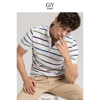 GYgoldlion Jin Lilai GY quần áo ngắn tay polo áo sơ mi nam thanh niên thường sản phẩm mới triều sọc T-Shirt ve áo áo khoác polo Polo