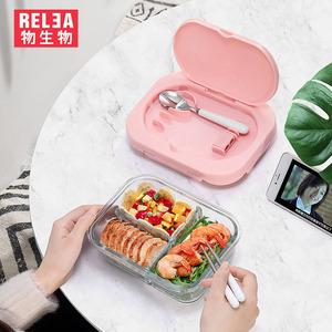 物生物上班族玻璃饭盒微波炉专用加热分隔带盖水果密封便当保鲜碗