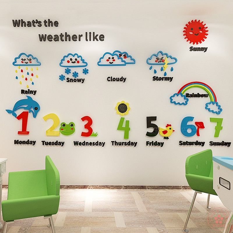 Weather early education 3D stereo wall stickers children