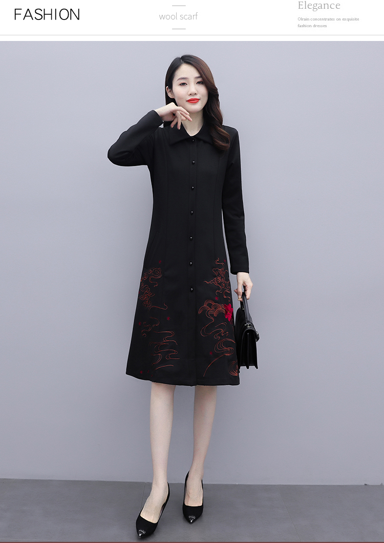 Black large-size embroidered windcoat female medium-length autumn/winter 2020 new foreign air age-reducing thin temperament coat woman 49 Online shopping Bangladesh