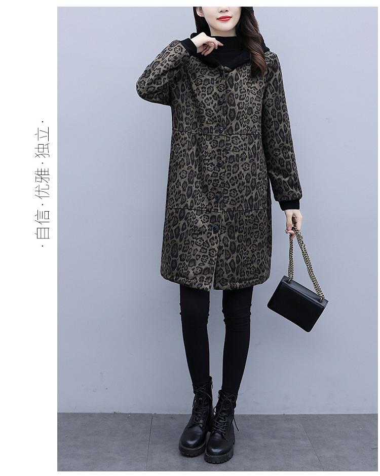 Autumn and winter leopard print windcoat women 2020 new medium-length small temperament thin plus velvet thick coat girl 61 Online shopping Bangladesh
