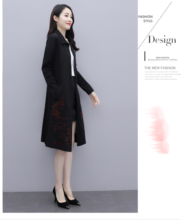 Black large-size embroidered windcoat female medium-length autumn/winter 2020 new foreign air age-reducing thin temperament coat woman 48 Online shopping Bangladesh