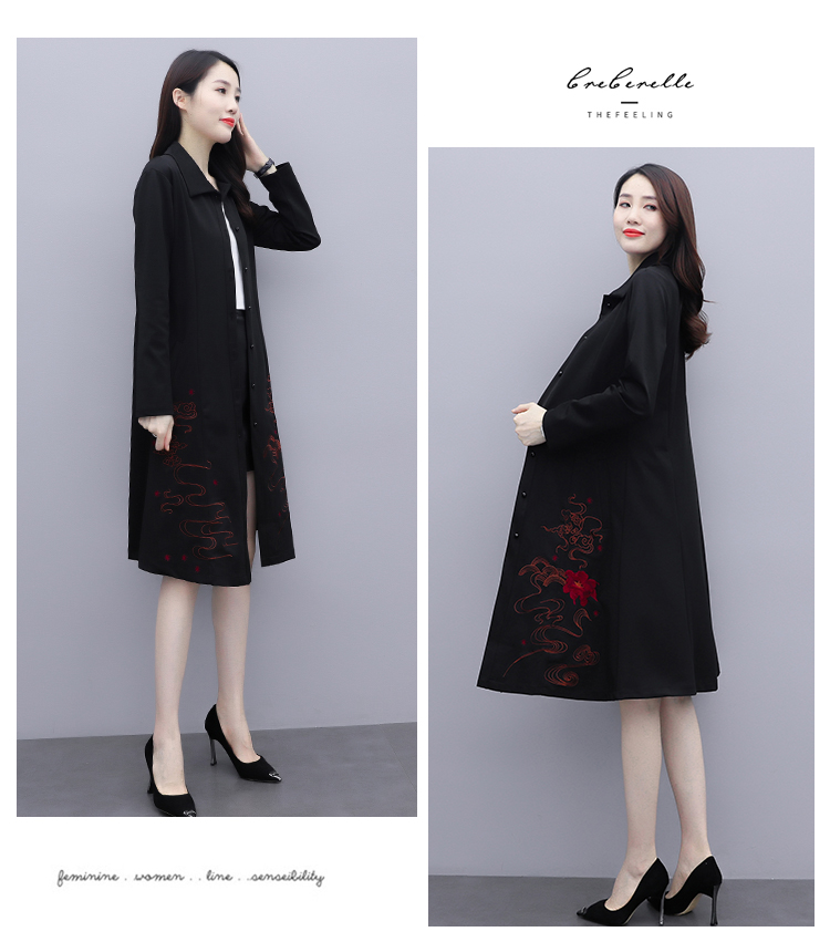Black large-size embroidered windcoat female medium-length autumn/winter 2020 new foreign air age-reducing thin temperament coat woman 50 Online shopping Bangladesh