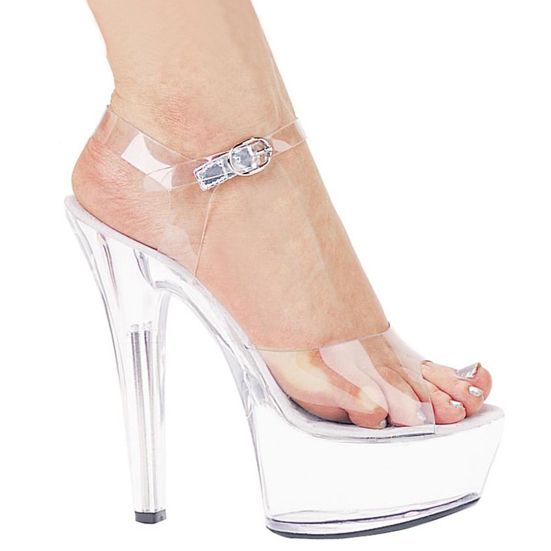 15cm high heels women transparent crystal shoes fine with waterproof  platform sandals temperament wild wedding shoes · Zoom · lightbox moreview  ... 6430289c8b37