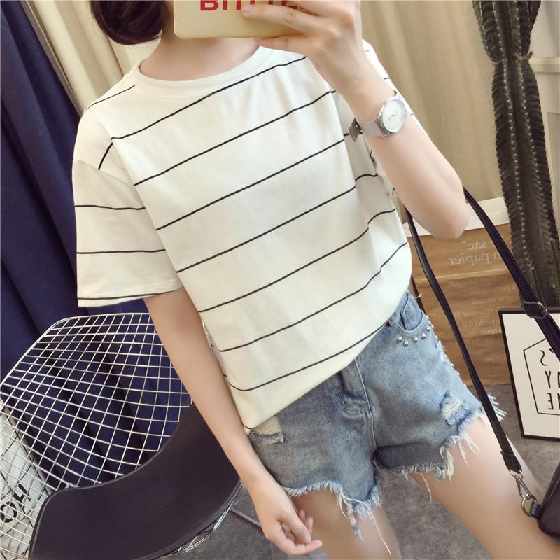 短袖t恤女夏装2018新款宽松韩版学生条纹短袖体恤夏季女装上衣服