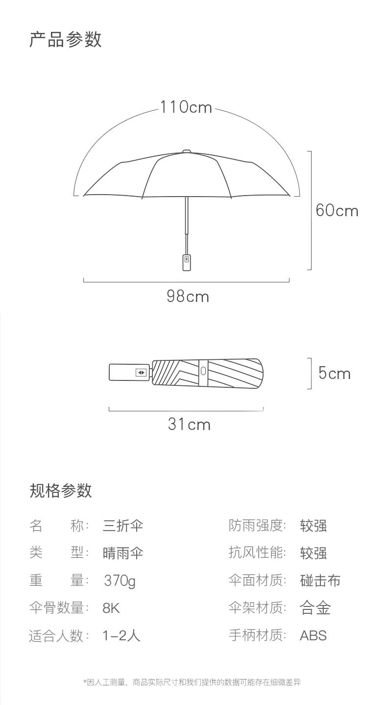 阿里自营品牌 虾选 全自动折叠雨 三折疏水伞 图12