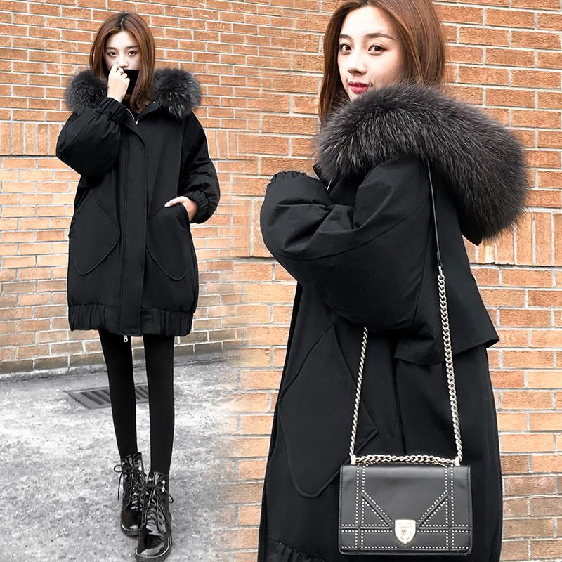 白外套大毛领羽绒服女2020新款中长款宽松显瘦大码冬季韩版鸭绒女
