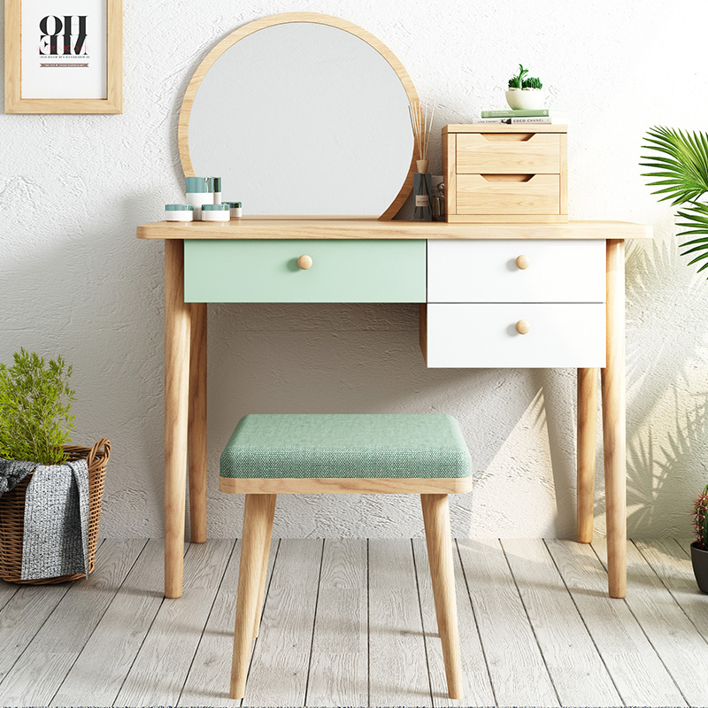 Nordic versatile small bedroom dresser storage cabinets simple one female  dressing table dressing table solid wood legs net red