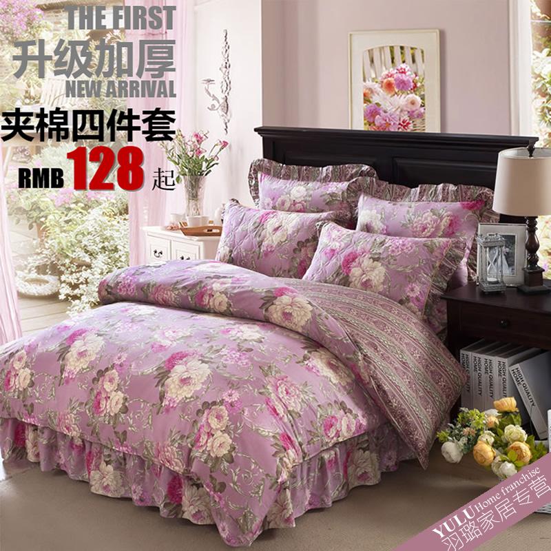 韩版冬款4件套全棉加厚夹棉床裙床套四件套纯棉床罩1.8米床上用品