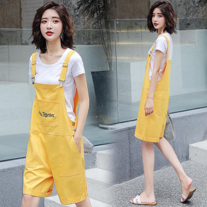 2019女装宽松显瘦v女装短裤牛仔背带女韩版夏装夏季新款牛仔