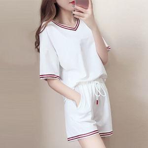 悦芳菲2020夏季新款休闲运动套装大码女装宽松显瘦两件套潮/单件