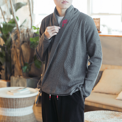 2018 spring new Chinese style men's Hanfu male knitted sweater men's ethnic clothing large size loose men's jacket