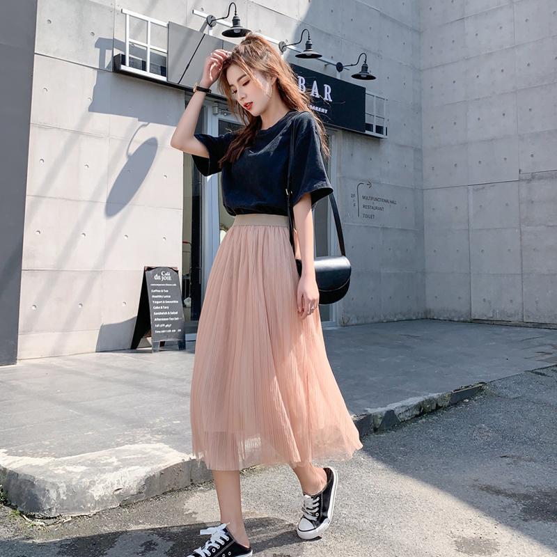 网纱半身裙女春新款2019长款仙女裙高腰百褶裙很仙的长裙A字纱裙