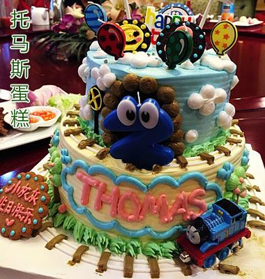 儿童卡通场景托马斯宝宝百日周岁宴会生日蛋糕潍坊青岛同城配送货