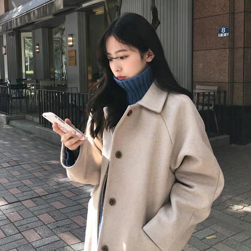 外套呢子女2019新款韩版宽松显瘦过膝中长款大衣风纯色毛呢学院女