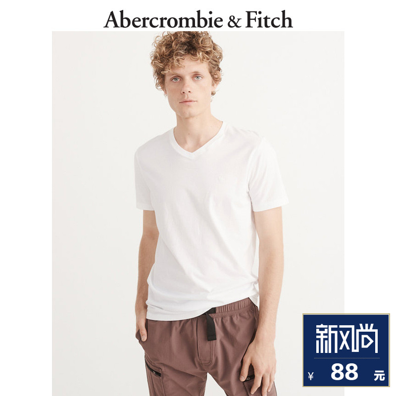 End of Season Special Abercrombie & Fitch Men's Printed V-Neck Logo T-Shirt 169955 AF