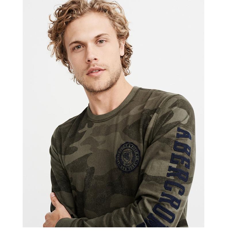 Áo phông dài tay áo thun đính cườm của nam giới Abercrombie & Fitch 213642 AF shop áo thun nam