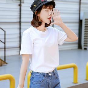 短袖T恤女宽松纯棉韩版学生纯体恤