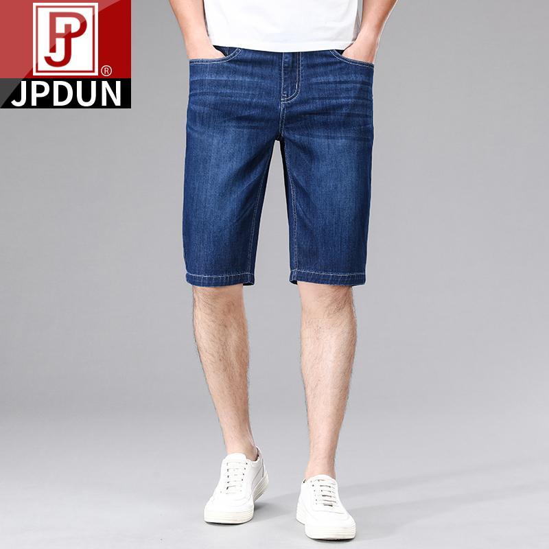 吉普盾夏季薄款牛仔短裤男宽松直筒弹力大码五分中裤中年七分马裤