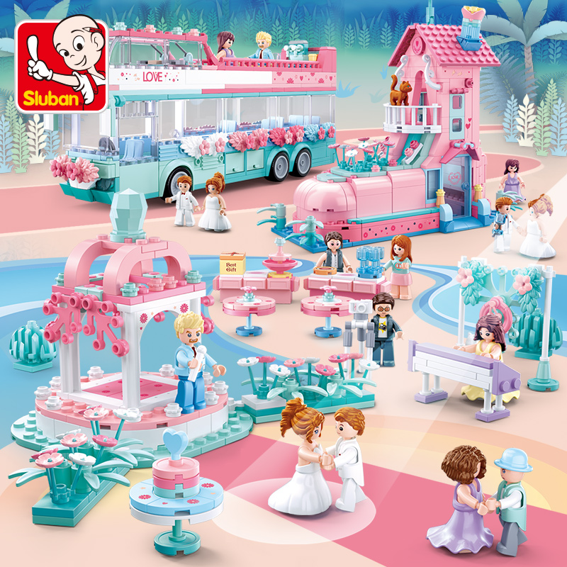 Happy little Luban building blocks legao toys girl small grain collage wedding series princess puzzle puzzle
