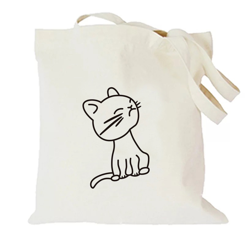 White Happy Cat Without Zipper Without Pocket