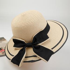 帽子女遮陽防曬20-24周歲明星同款大沿邊法式系帶麻草編草帽大檐