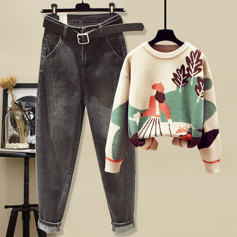 Fat girl suit thin loose autumn and winter dress size women's sweater jeans children born belly cover 115 years old 14 18 Online shopping Bangladesh