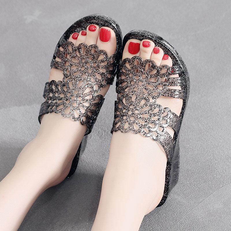 夏季室外水晶透明凉拖坡跟高跟厚底塑料拖鞋室内沙滩防滑女鞋外穿
