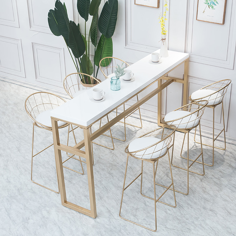 Барный стол, домашний мрамор, стена высокая Стол для ног для отдыха Молочный чай кофейня твердая древесина кованое железо обеденный стол бар стол и стул