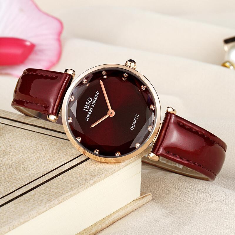 爱彼思诺IBSO手表水晶女表时尚新款潮流女士手表防水镶钻石英表