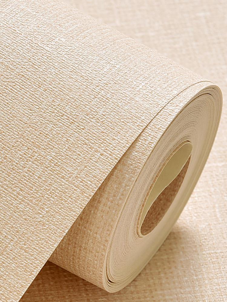 蚕丝亚麻工程米色宾馆PVC纯色客厅服装店卧室壁纸浅素色墙纸包邮