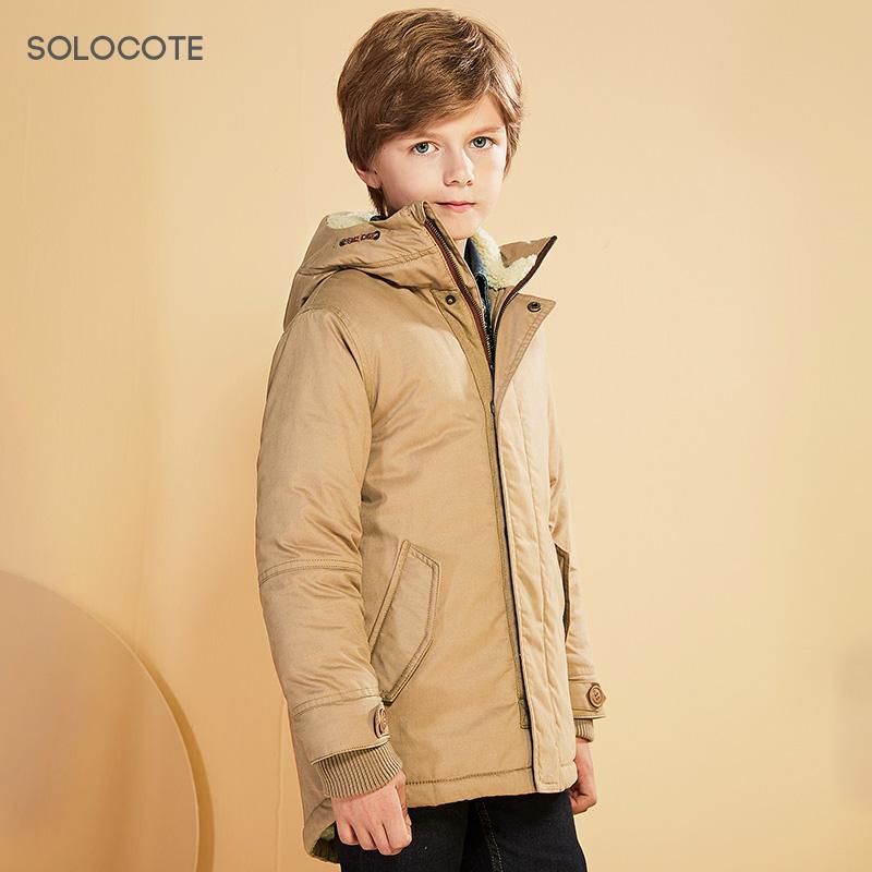 SOLOCOTE男童中长款加绒加厚棉衣中大童保暖棉服儿童棉袄外套076510月11日最新优惠