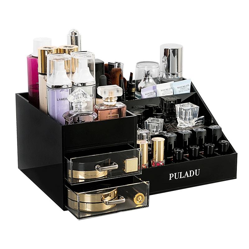普拉度化妆品收纳盒亚克力家用化妆盒护肤品抽屉式整理架桌面欧式