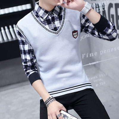 Autumn and winter sweater men's fake two-piece shirt collar trend autumn jacket plus velvet thick sweater collar sweater