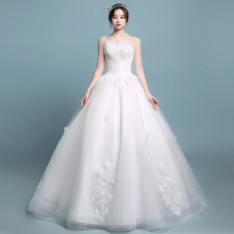 Tube Top Wedding Dress 2019 New Bride Married Korean High Waist