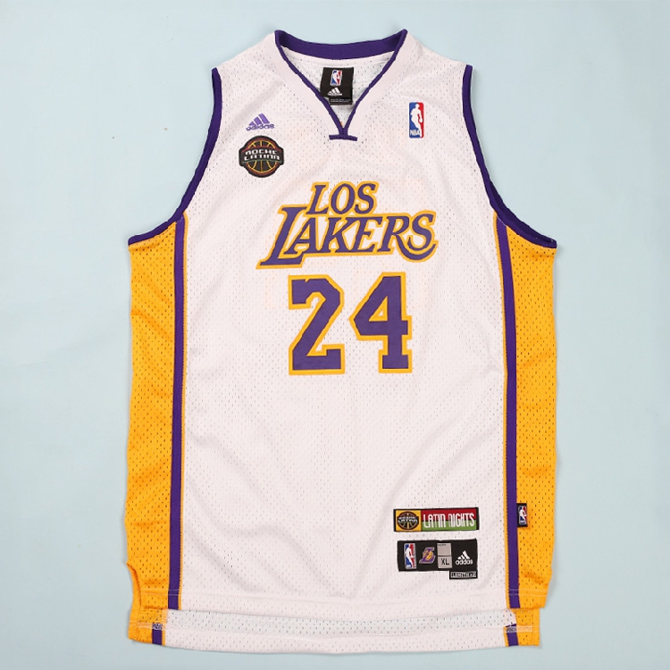 uk availability 352d3 4515b (Authentic embroidery Youth Edition)Lakers Kobe jersey No. 24 embroidery  retro Latin Night White basketball clothing