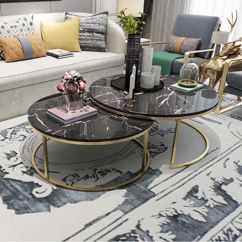 創意北歐大理石不銹鋼輕奢后現代大小圓桌茶幾簡約小戶型客廳