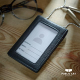 Document card set of metal chain official cat Hong Kong INS head layer leather chest card card leather work license card set