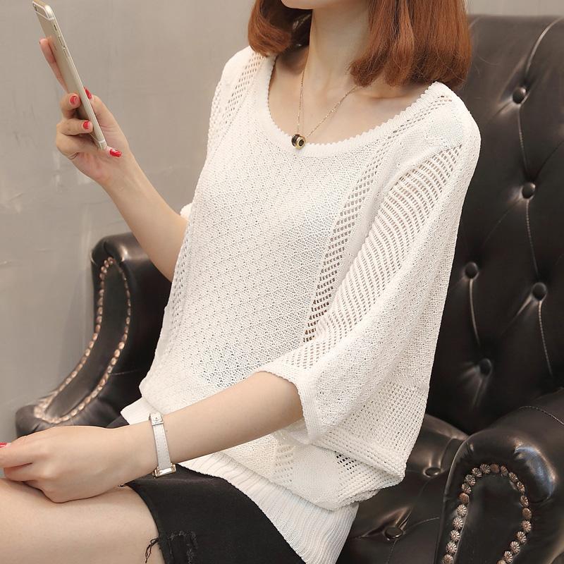 短款衫女2018新款韩版上衣宽松百搭镂空薄款冰丝针织学生女篇幅夏