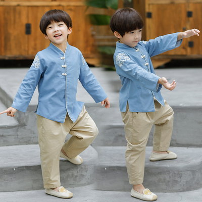 Boys Tang Suit for Kids Hanfu boy spring Chinese style children long sleeve retro Costume Baby Tang style Chinese children National Children clothing