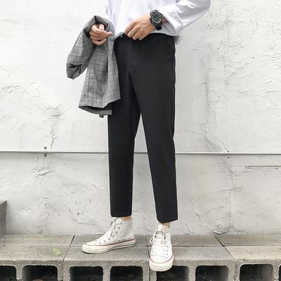 Quần mùa thu nam xu hướng lỏng lẻo kiểu Hồng Kông quần lửng nhỏ lửng phù hợp với quần phù hợp với quần chín điểm quần nam - Quần
