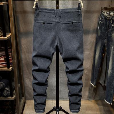 Mùa thu và mùa đông quần âu giản dị Quần lọt khe là quần skinny nam phiên bản Hàn Quốc của xu hướng quần dài đơn giản màu nhỏ - Quần mỏng