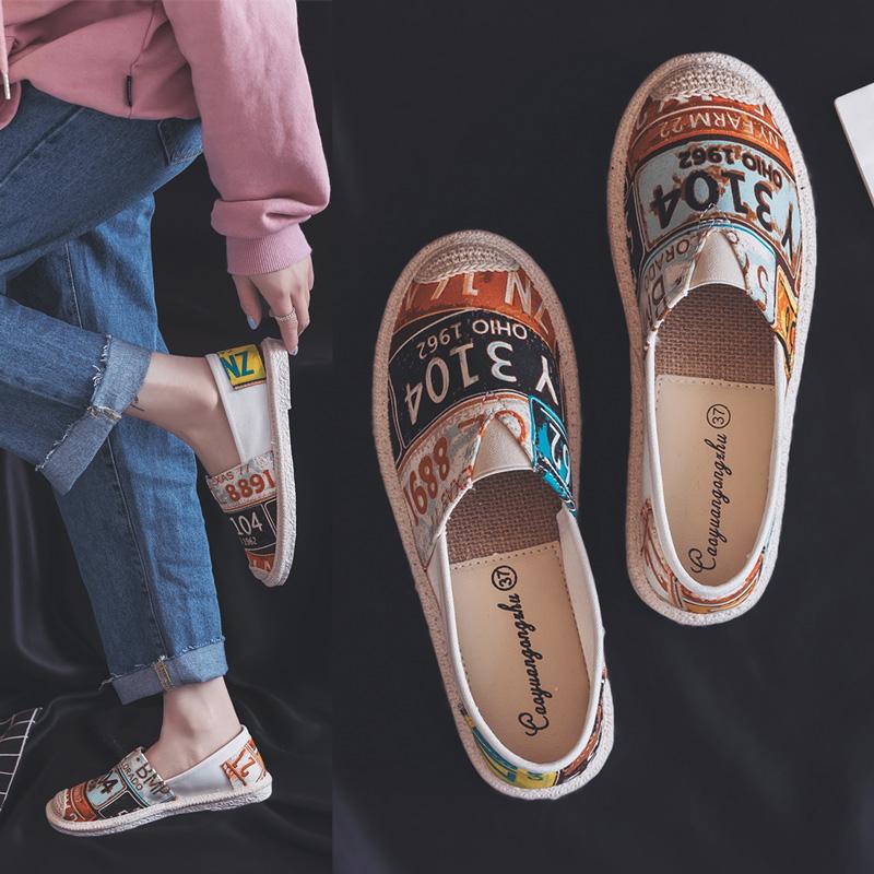缤逸懒人鞋女一脚蹬休闲鞋夏学生韩版百搭原宿ulzzang帆布鞋平底
