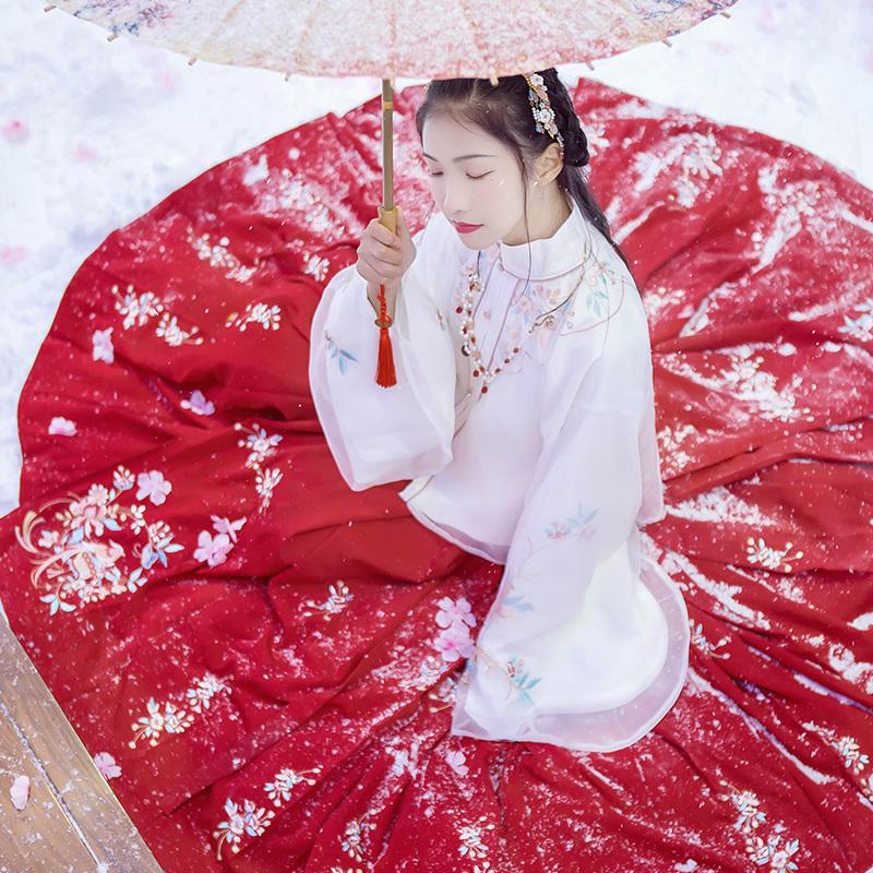 汉尚华莲四合春正品原创汉服女中国风日常马面裙双层朦胧白色袄裙
