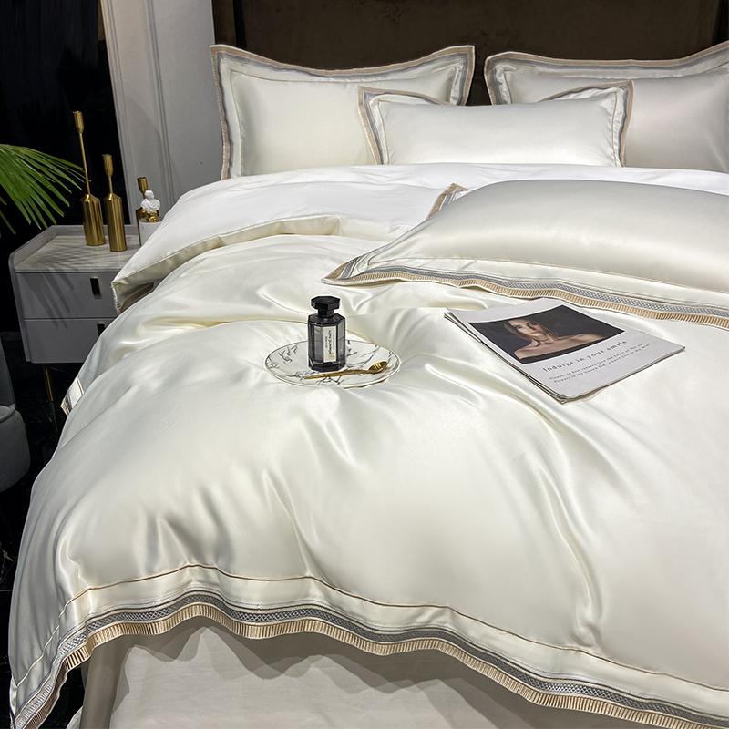 现代轻奢风夏季冰丝四件套纯棉简约刺绣真丝被套全棉酒店床上用品