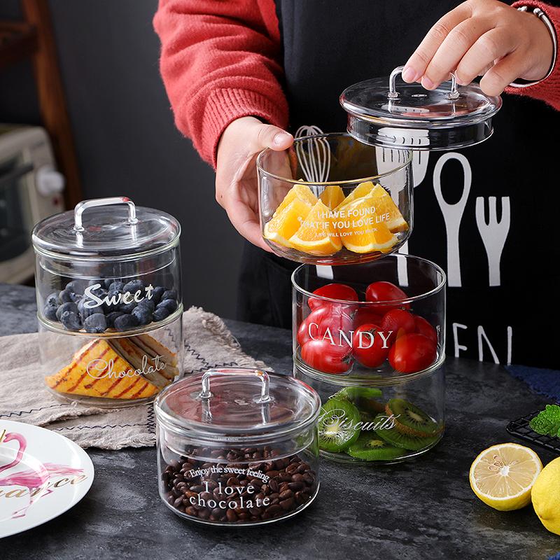 多层罐子保鲜罐收纳创意调味罐家用收纳冰箱玻璃食物密封罐圆形碗