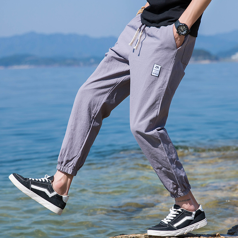 Nine minutes of pants men's summer loose casual trousers child men's Korean version of the trend of harem pants sports pants male 9 points trousers beam foot trousers
